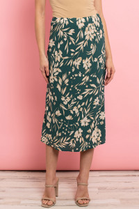 C24-A-3-S7485 GREEN CREAM FLORAL SKIRT 2-2-2