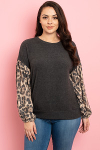 C72-A-2-T9057X CHARCOAL BROWN ANIMAL PRINT PLUS SIZE TOP 3-2-1