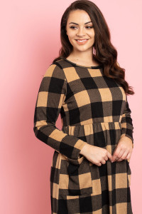 C82-A-2-D14316X BLACK MOCHA CHECKERED PLUS SIZE DRESS 3-2-1