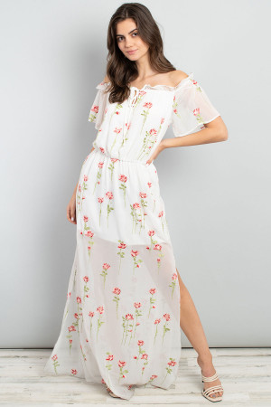 C46-A-2-D3078 IVORY FLORAL EMBROIDERY DRESS 3-2-1