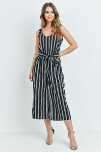 C56-A-1-J1587 BLACK WHITE STRIPES JUMPSUIT 3-2-1
