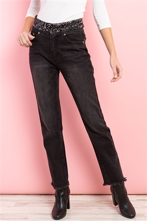 S16-1-1-J0098 BLACK DENIM JEANS 3-2-1