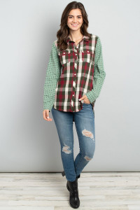 S9-14-4-T12045 BURGUNDY GREEN CHECKERED TOP 2-2-2