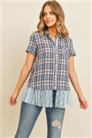 SA4-000-1-T10689 NAVY CHECKERED TOP 2-2-2
