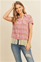 SA4-000-1-T10689 CORAL CHECKERED TOP 2-2-2