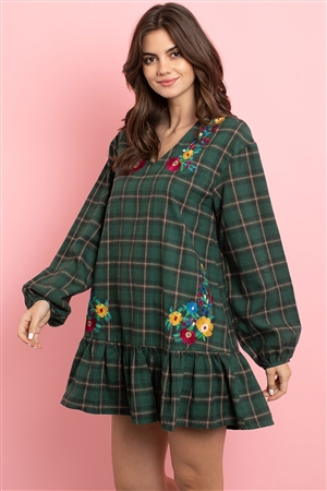S9-4-2-D42481 GREEN CHECKERED WITH FLOWER EMBROIDERY DRESS 2-2-2