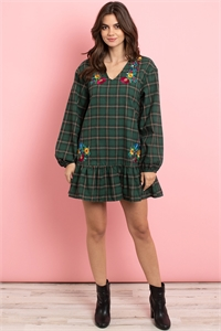S16-10-2-D42481 GREEN CHECKERED WITH FLOWER EMBROIDERY DRESS 2-2-3