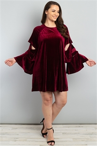 S8-11-2-D42634X WINE PLUS SIZE DRESS / 2PCS