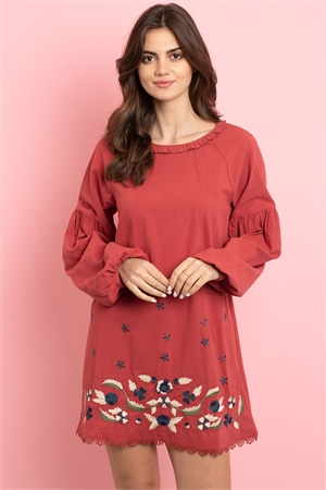 S9-8-3-D42499 RUST WITH FLOWER EMBROIDERY DRESS 2-2-2