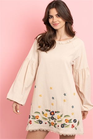 S8-10-2-D42499 BEIGE WITH FLOWER EMBROIDERY DRESS 2-2-2