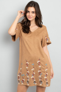 S11-17-2-D42498 MOCHA WITH FLOWER EMBROIDER DRESS 2-2-2