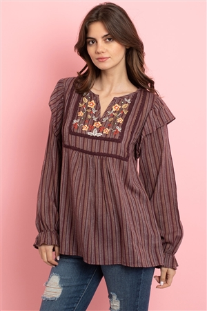 S11-14-4-T1381 PLUM WITH FLOWER EMBROIDERY TOP 2-2-2
