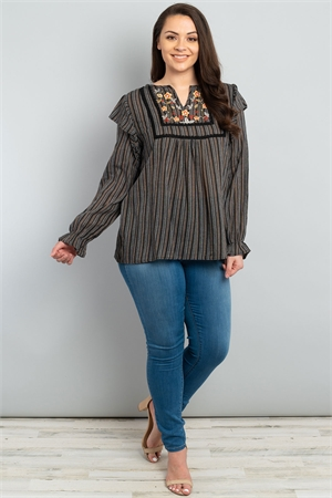 S12-1-4-T1381X BLACK WITH FLOWER EMBROIDERY PLUS SIZE TOP 2-2-2