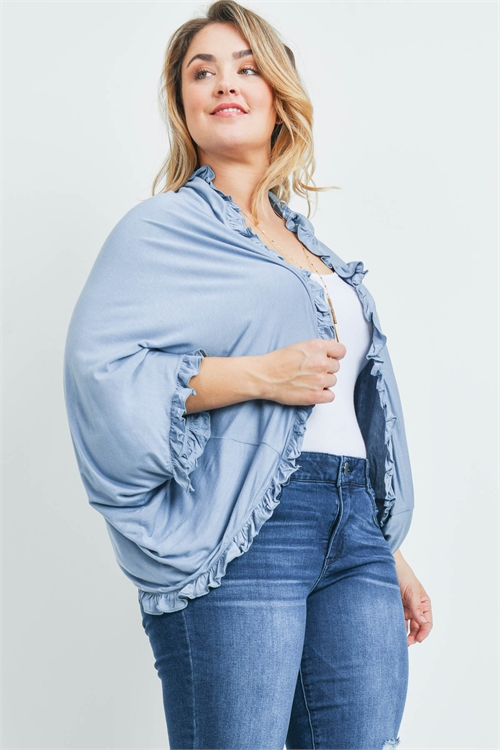 S12-6-4-C22280X BLUE PLUS SIZE CARDIGAN 2-2-2