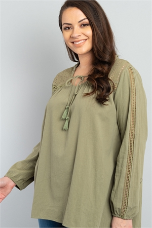 S11-6-4-T2380X OLIVE PLUS SIZE TOP 2-2-2