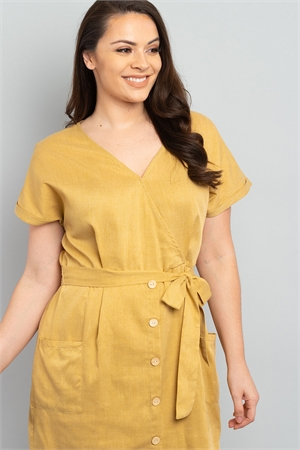 S11-7-4-D2171X MUSTARD PLUS SIZE DRESS 2-2-2