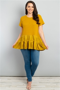 S16-11-4-T1262X MUSTARD PLUS SIZE TOP 1-2-2