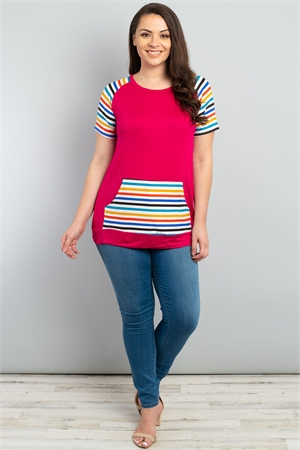 C52-A-3-T22514X FUCHSIA STRIPES PLUS SIZE TOP 2-2-2