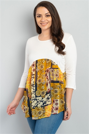 C58-A-1-T22951X IVORY YELLOW FLORAL PLUS SIZE TOP 2-2-2