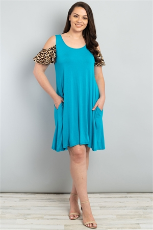 C64-A-1-D1015X TURQUOISE LEOPARD PRINT PLUS SIZE DRESS 2-2-2