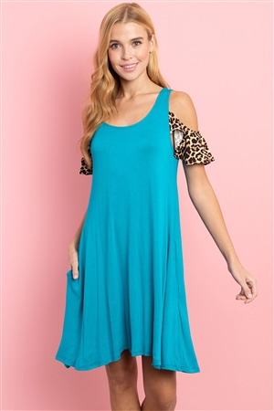 C28-A-2-D1015 TURQUOISE LEOPARD PRINT DRESS 2-2-2