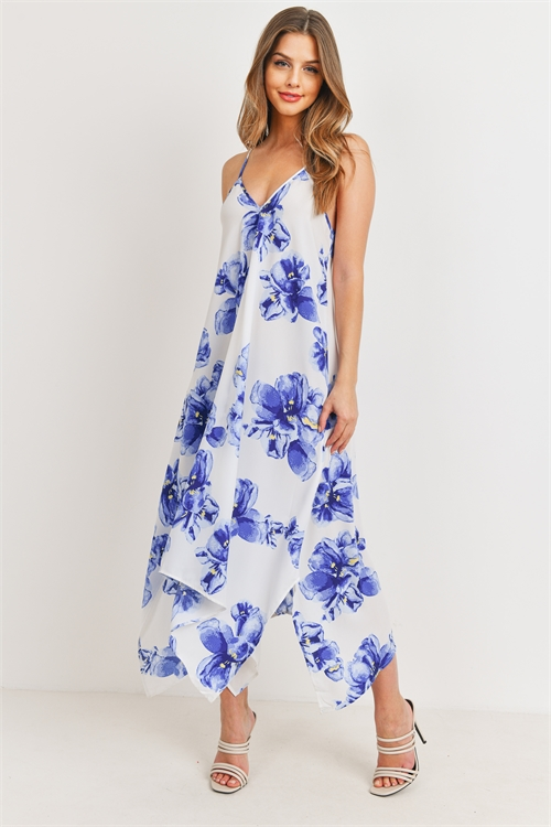 C52-A-1-D4211 IVORY ROYAL WITH FLOWER PRINT DRESS 2-2-2