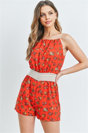 S13-4-1-R1064 RED FLORAL ROMPER 2-2-2