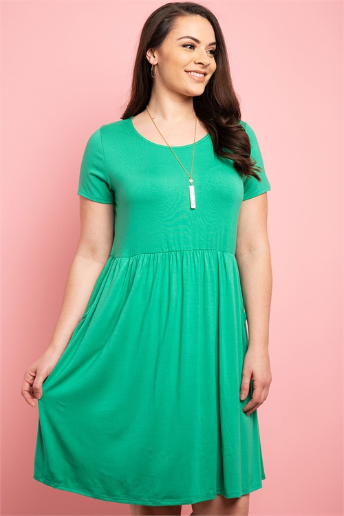 C32-A-1-D070X GREEN PLUS SIZE DRESS 1-2