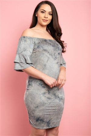 C48-A-1-D032X GRAY BLUE TIE DIE PLUS SIZE DRESS 2-2-2