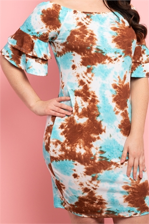 C48-A-1-D032X BROWN BLUE TIE DIE PLUS SIZE DRESS 2-2-2