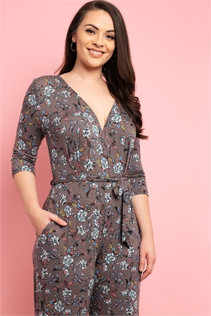 C54-A-1-J001X GRAY BROWN FLORAL PLUS SIZE JUMPSUIT 2-2-2
