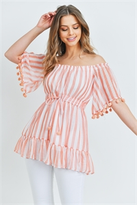 S15-12-3-T1234129 PEACH STRIPES TOP 1-3-4