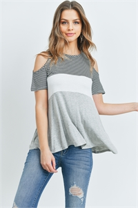 C70-A-2-T5408 BLACK GRAY STRIPES TOP 2-2-2