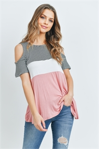 C76-A-1-T5408 BLACK BLUSH STRIPES TOP 3-1-2