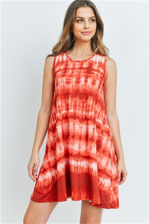 S14-9-3-D6134 RUST TIE DYE DRESS 2-2-2