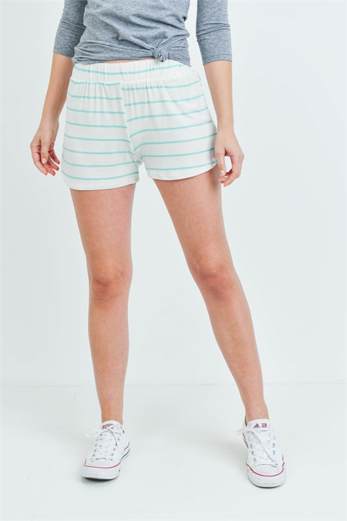 C24-B-1-S13056 OFF WHITE MINT STRIPES SHORTS 1-2-3