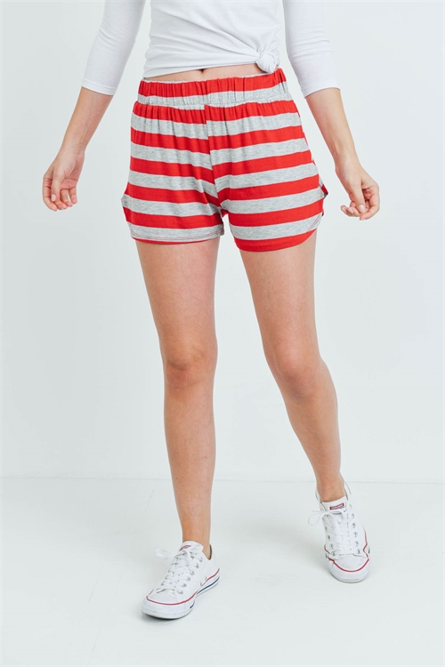 C30-B-1-S13056 GRAY RED STRIPES SHORTS 1-3