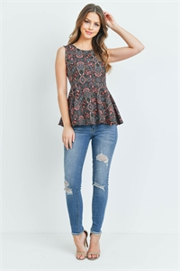 S14-10-3-T13042 BLACKCORAL WITH PAISLEY PRINT TOP 2-2