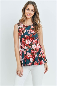 S15-7-3-T13042 HUNTER GREEN FLORAL TOP 2-3