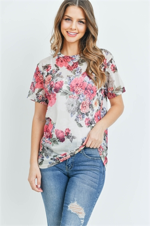 C14-A-1-T45932 IVORY FLORAL TOP 2-2-2