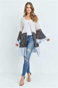 S14-7-2-C2493 CREAM NAVY FLORAL CARDIGAN 3-2-2