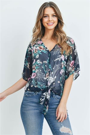 S13-9-3-T1118 NAVY FLORAL TOP 2-2-2