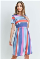 C26-A-2-D4937 BLUE MULTI STRIPES DRESS 2-2-2