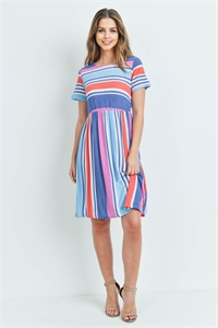 C22-A-1-D4937 BLUE MULTI STRIPES DRESS 3-2-2