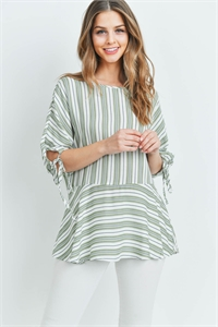 C22-A-1-T2349 OLIVE STRIPES TOP 1-2-2