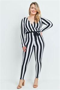 S8-12-3-J13973X BLACK WHITE PLUS SIZE JUMPSUIT 2-2-2