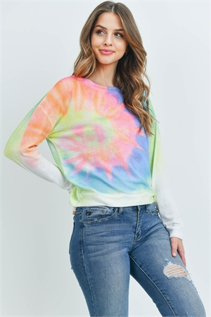 S8-13-4-T6251 IVORY MULTI COLOR TIE DYE TOP 2-2-1-1