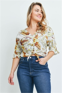 S16-9-1-T20936X OFF WHITE WITH LEAVES PRINT PLUS SIZE TOP 2-2-2