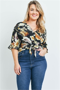 S16-9-1-T20936X BLACK WITH LEAVES PRINT PLUS SIZE TOP 2-2-2