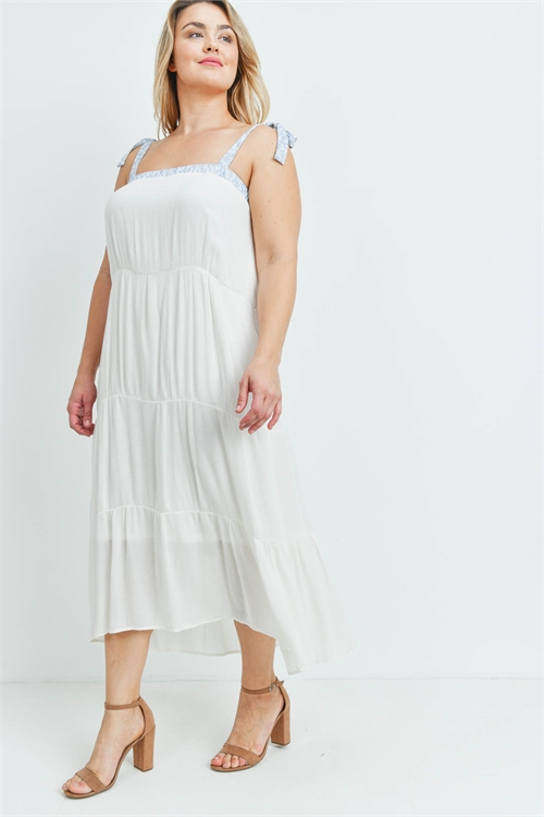 S12-10-1-D6024X OFF WHITE BLUE PLUS SIZE DRESS 2-2-2
